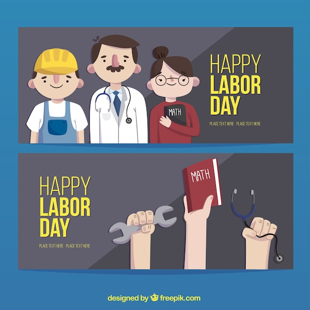 Banners set of  labor day professions Free Vector
