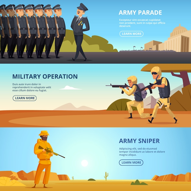Banners set  of military characters and different specific tools Premium Vector