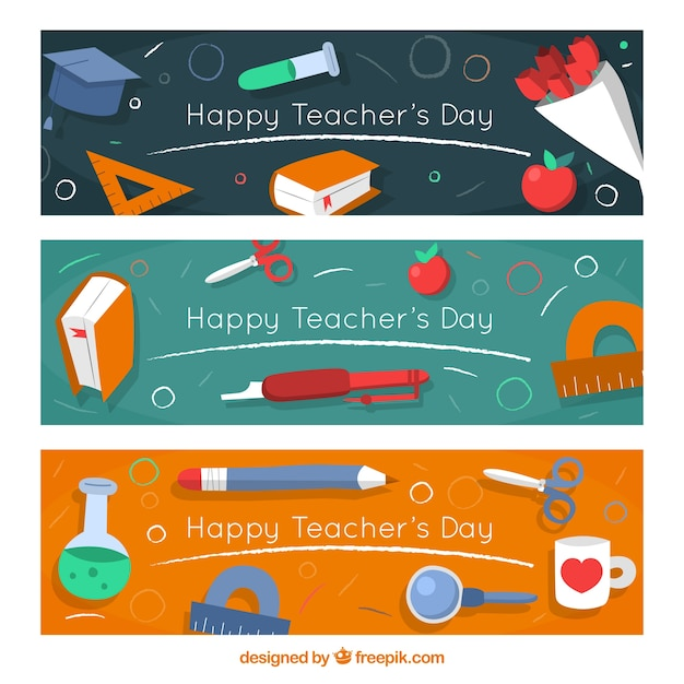Banners set of happy teacher\'s day with\ elements