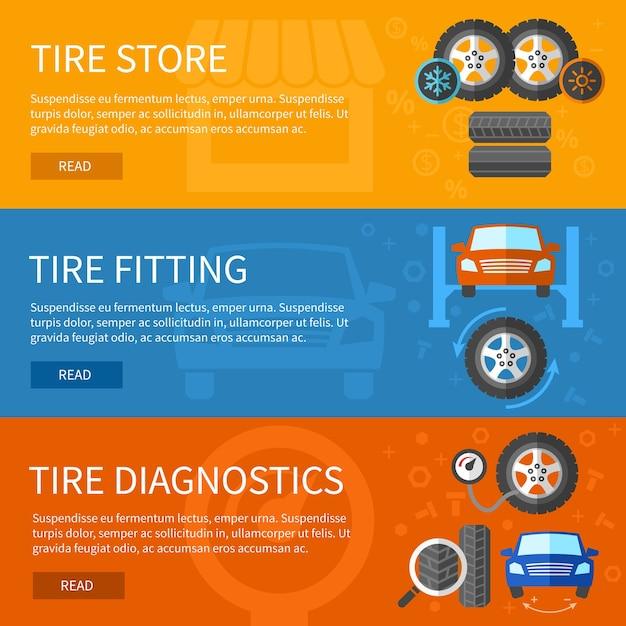 タイヤサービスのバナーセット。自動車修理、車の要素と診断のステーション 無料ベクター