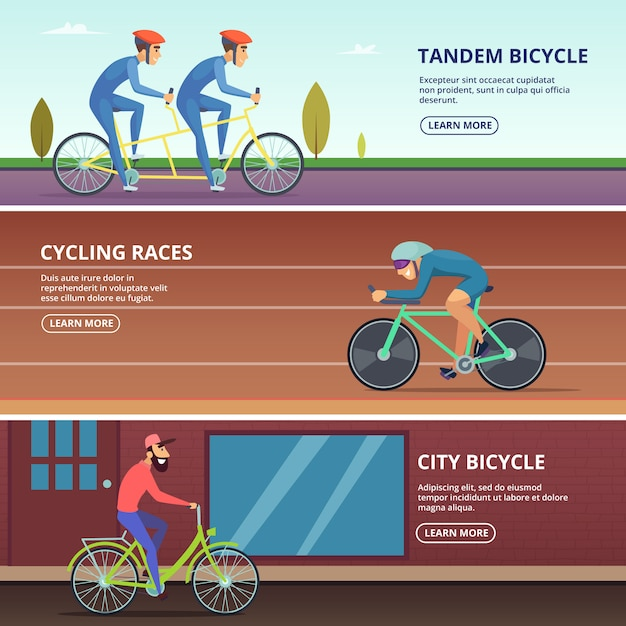 Banners set with horizontal various cyclists Premium Vector