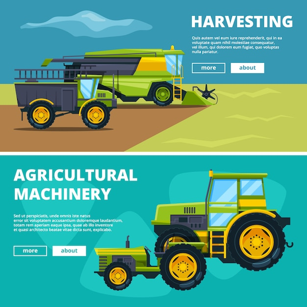 Banners set with illustrations of agricultural machinery. vector agriculture farm, tractor and machinery Premium Vector