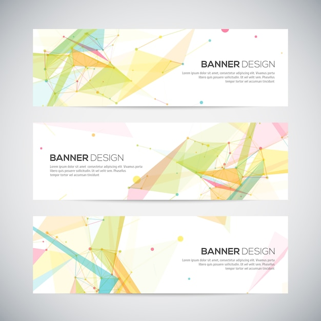Banners set with polygonal abstract shapes Premium Vector