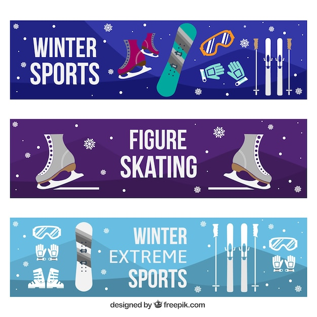 Banners set with winter sports objects
