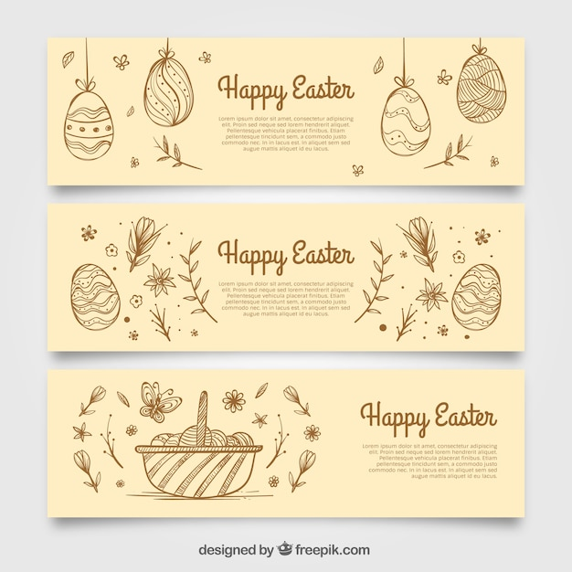 Banners sketches of easter eggs Free Vector