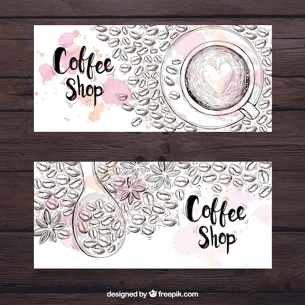 Banners sketches of coffee beans