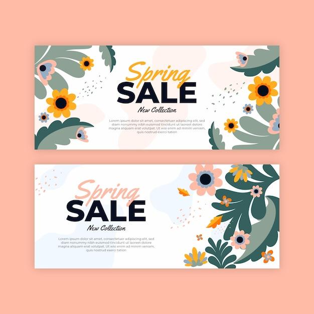 Баннеры весенней распродажи в плоском дизайне Бесплатные векторы