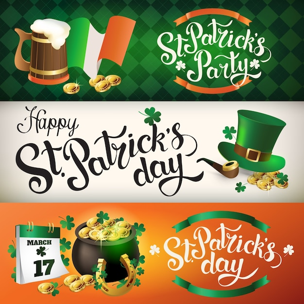 Banners st patrick day Premium Vector