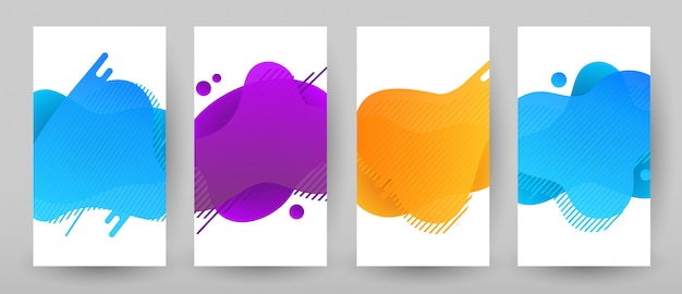 Banners template design with abstract liquid color. flash sale special offer set Premium Vector