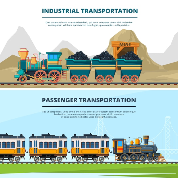 Banners template with colored illustrations of retro trains Premium Vector