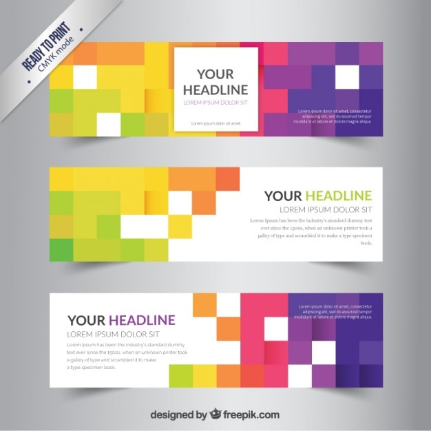 Banners template with colorful pixels Vector | Free Download