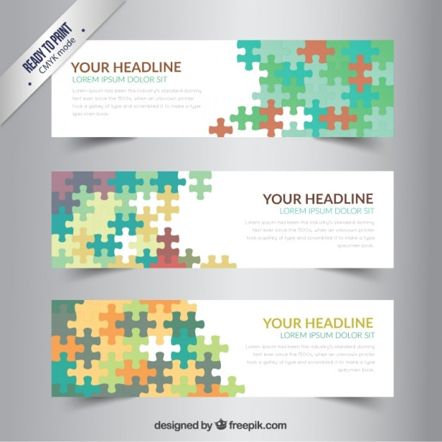 Banners template with colorful puzzle Vector | Free Download