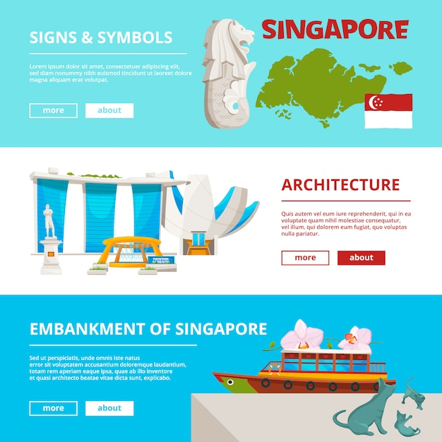 Banners template with cultural objects and landmarks of singapore Premium Vector