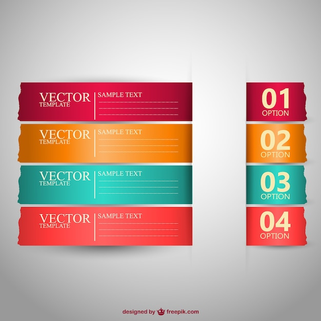 Banners templates in different colors Free Vector
