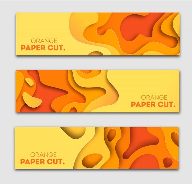オレンジ色の紙のバナーテンプレートは、形状をカットしました。明るい秋のモダンな抽象的なデザイン。図。 Premiumベクター