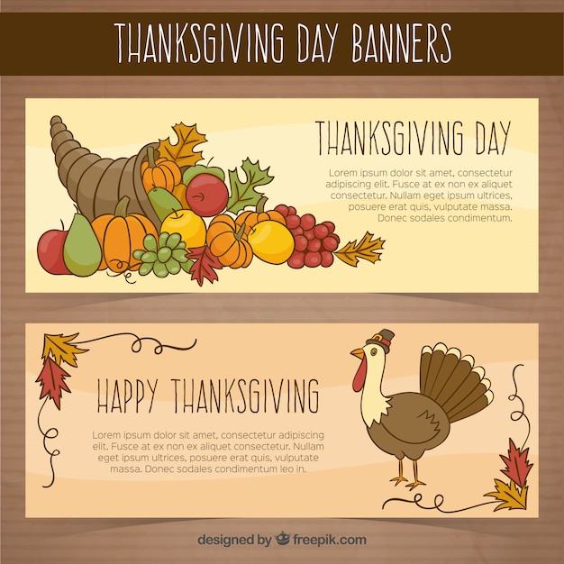Banners thanksgiving day with turkey and\ hand-drawn food