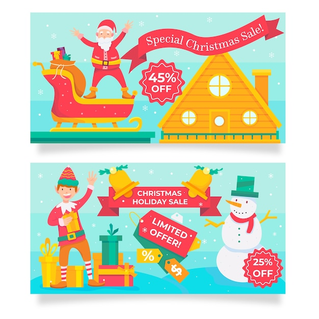 Banners for various sale offers on christmas season Free Vector