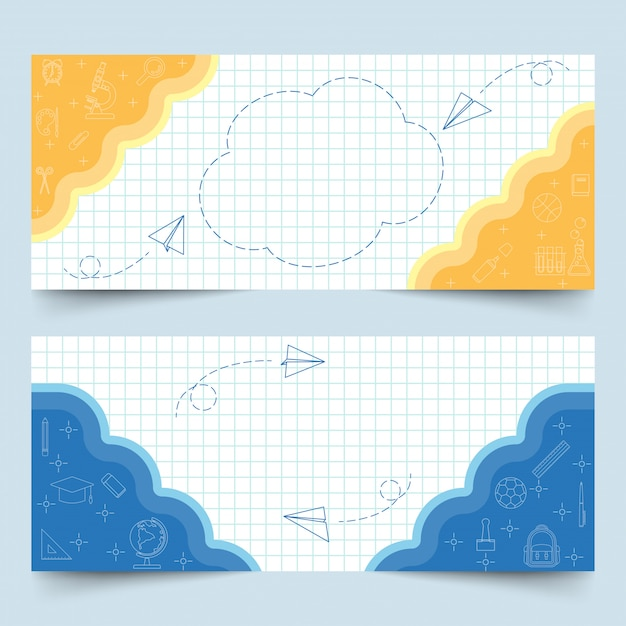 Banners on white grid paper Premium Vector