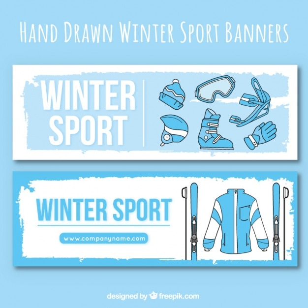 Banners of winter clothes and sport accessories Free Vector