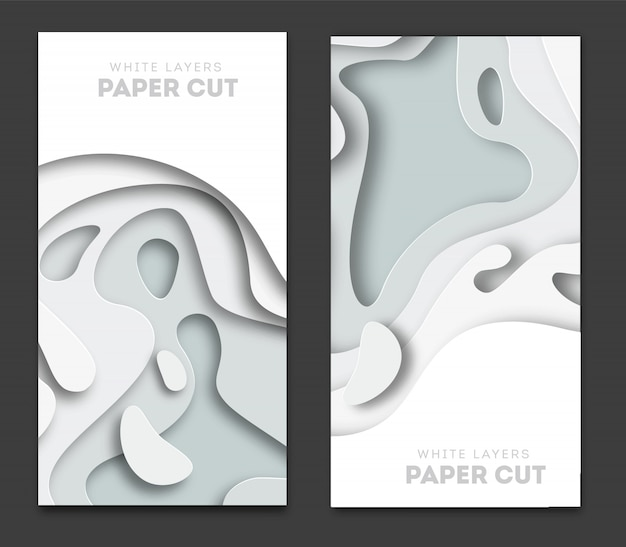 Banners with 3d abstract background Premium Vector