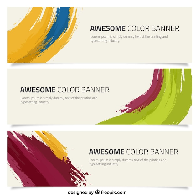 Banners with a brush stroke Free Vector