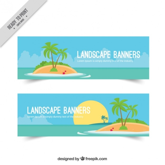 Banners with a desert island