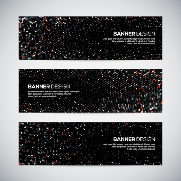 Banners with abstract colorful triangulated geometric background Premium Vector