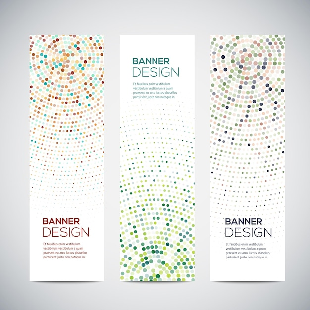 Banners with abstract colorful triangulated lined geometric background Premium Vector