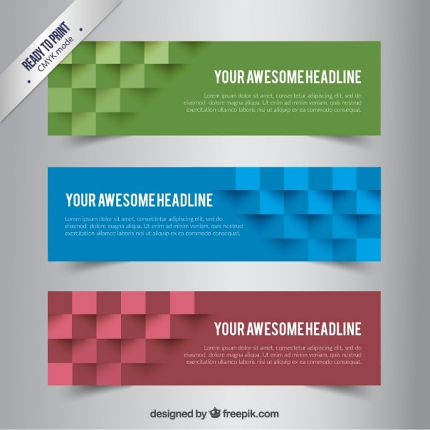 Banners with abstract cubes Premium Vector