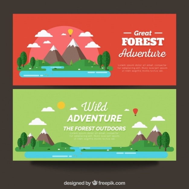 Banners with adventure areas