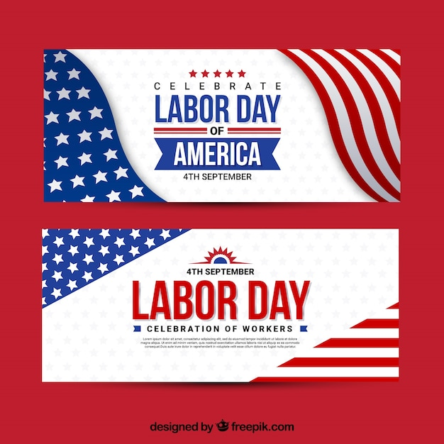 Banners with american labor day banner