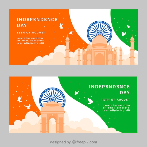 Banners with architectural monuments of india\ independence
