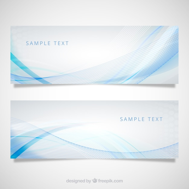 Banners with blue wave pattern Free Vector