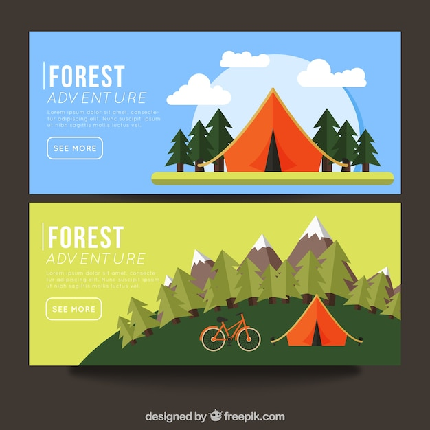 Banners with camping areas