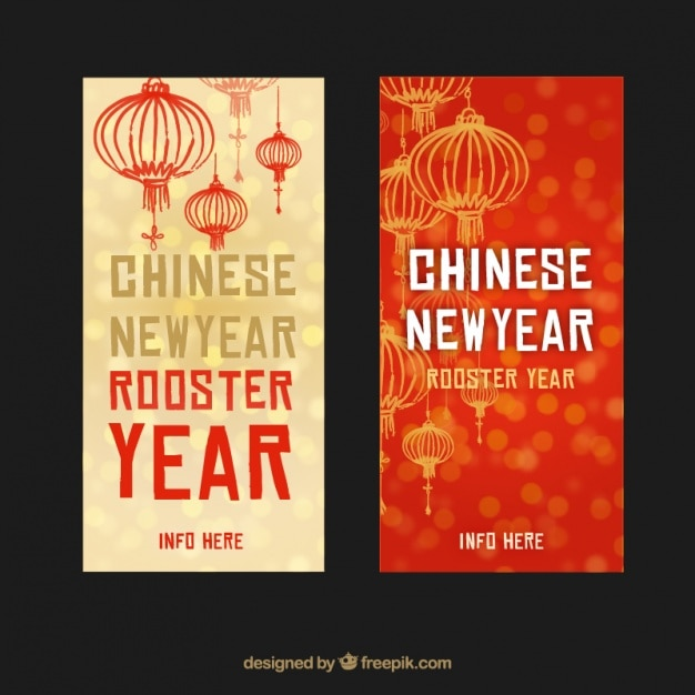 Banners with chinese new year lanterns