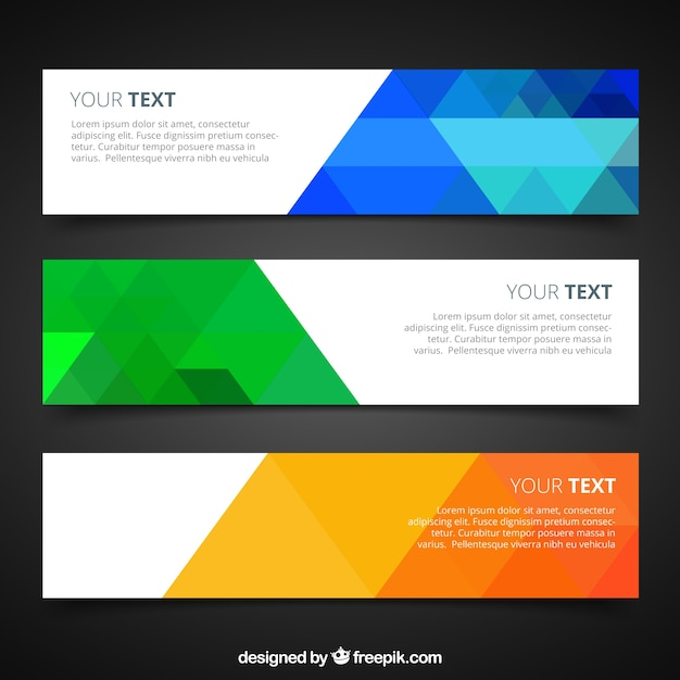 Banners with colorful geometric Vector | Free Download
