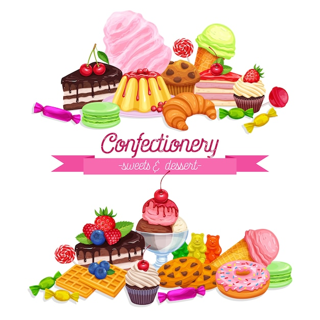 Banners with confectionery Premium Vector