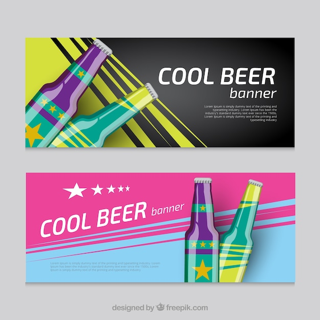Banners with cool beer Free Vector