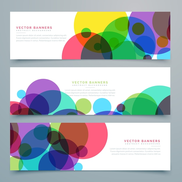 Banners with different circles in full color Free Vector