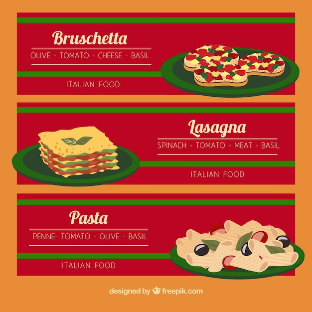 Banners with different dishes Free Vector
