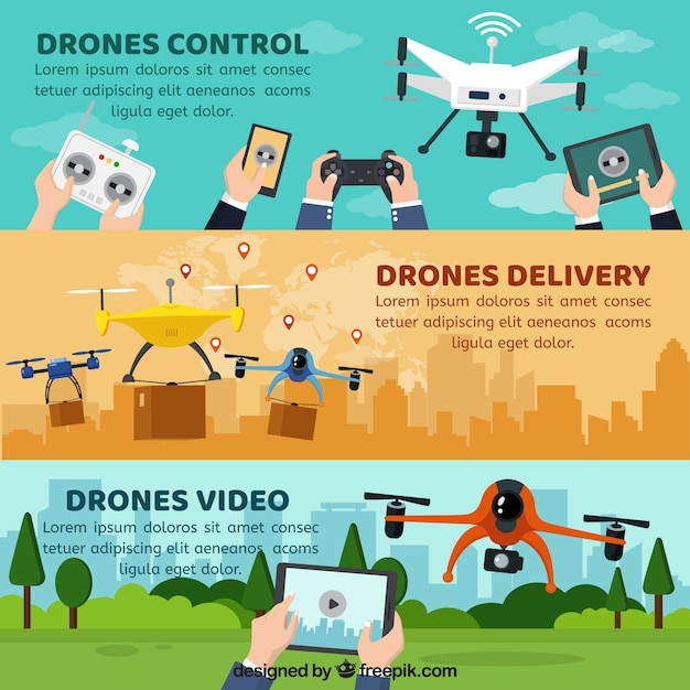 Banners with drones Free Vector