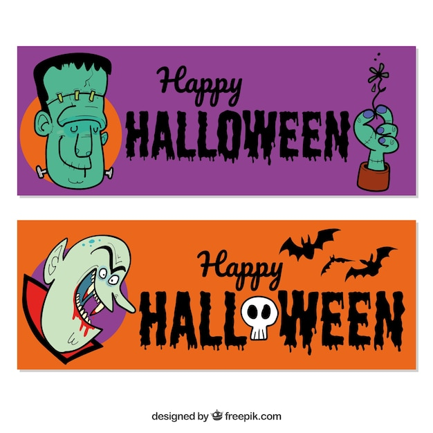 Banners with funny hand drawn halloween characters