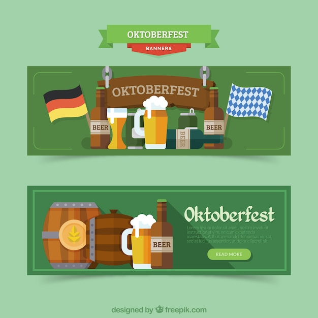 Banners with german products for oktoberfest