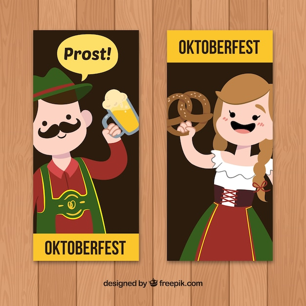 Banners with german woman and man drinking and eating