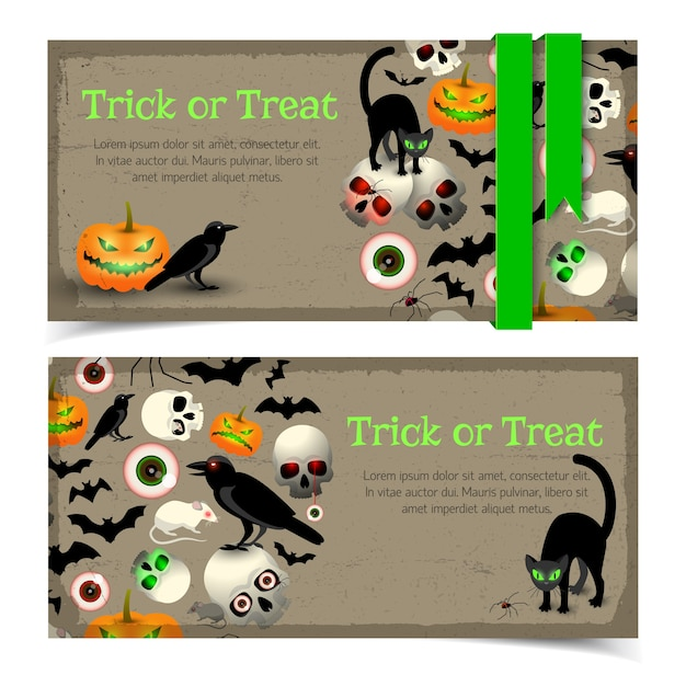 Banners with halloween elements animals and traditional expression green ribbon on grey textured background isolated Free Vector