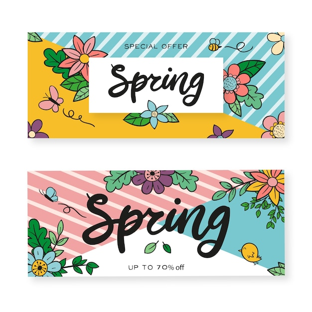 Banners with hand drawn spring flowers Free Vector