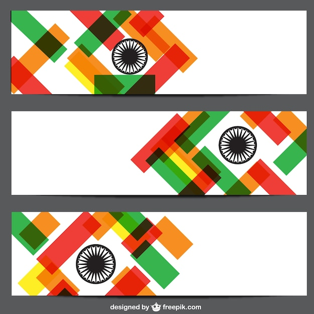 Banners with indian flag colors | Free Vector