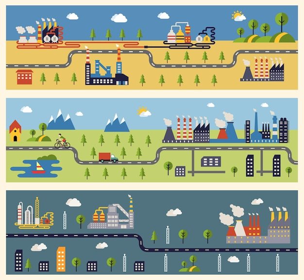 Banners with industrial factories buildings. Free Vector