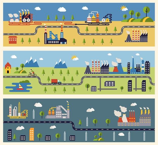 Баннеры со зданиями промышленных предприятий. Бесплатные векторы