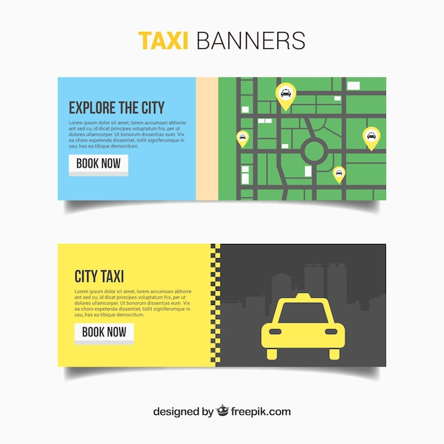 Banners with map for taxi service Free Vector